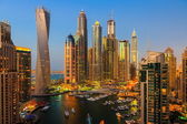 General view of Dubai Marina at twilight — Foto Stock