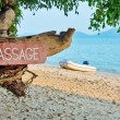 Signboard with inscription, massage, on a  beach — Stock Photo #70283779