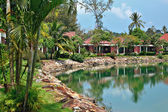 Cottages in a tropical garden — Stock Photo