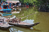 Wooden boats in the fishing village Asia — Fotografia Stock