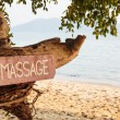 Old signboard with inscription massage — Stock Photo #75730559