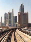 Metro subway tracks in  Dubai, UAE. — Stock Photo