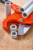 Pipes and pipe cutter — Stockfoto
