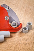Pipe cutter with pipes — Stockfoto