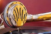 Close up view on speaker of gramophone — Stock Photo