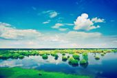 View on spring flood field and cloudy sky instagram stile — Stock Photo