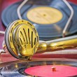 Close up view on speaker of vintage gramophone — Stock Photo #57101713
