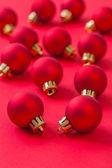 Set of small red christmas balls — Stock Photo