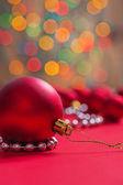 Big red christmas ball — Stock Photo