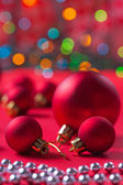 Composition of red christmas balls — Stock Photo