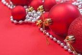 Red christmas balls on table — Stock Photo