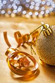 Christmas bauble on table — Stock Photo