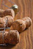 Champagne corks on board — Stock Photo