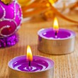 Candles and christmas ball — Stock Photo #60134945