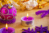Candles and christmas ball — Стоковое фото