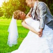 Bride and groom  in park — Stockfoto #60346243