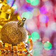 Gold colored christmas ball — Stock Photo #60346381