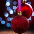 Two red christmas balls — Stock Photo #60346543