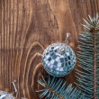 Disco balls and branch of pinetree — Stock Photo #61177253