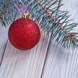 Christmas ball and pinetree branch — Stock Photo #61177349