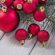 Stack of red christmas balls — Stock Photo #61177371