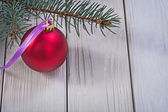 Christmas ball and pinetree branch — Stock fotografie