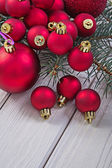 Stack of red christmas balls — Stock Photo