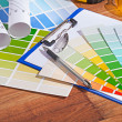 Color  palettes on table — Stock Photo #62781297