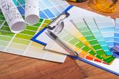 Color  palettes on table — Stock Photo