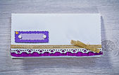 Invitation envelope on board — Zdjęcie stockowe