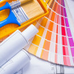 Color palette paintbrushes — Stock Photo #64807981