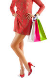 Female body with paper bags — Stock Photo