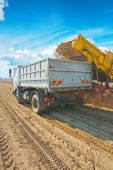 Loading potatoes in tipper — Stock Photo