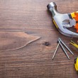 Construction tools on wooden background — Stock Photo #67093469