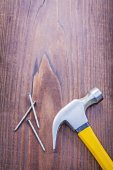 Claw hammer with nails — Stock Photo