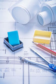 Set of architect on blueprints — Stockfoto