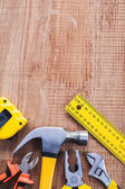 木製のボード上の作図ツール — ストック写真
