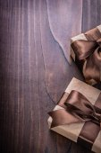 Two giftboxes covered crumpled paper — Stock Photo