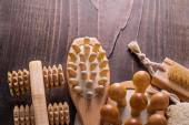 Classical wooden massagers on board — Stock Photo