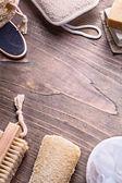 Nail brush loofah, wisp and soap — Stock Photo