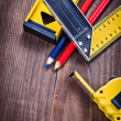 Ruler pencils level with small copyspace — Stock Photo #68237403