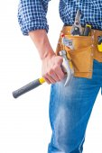 Carpenter holding claw hammer — Stock Photo