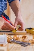 Carpenter drawing with pencil — Stock Photo