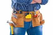 Carpenter and toolbelt with tools — Stock Photo
