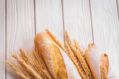 Two baguettes and ears of wheat — Photo