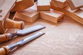 Wooden planks chisels — Stock Photo