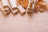 Wooden planks and shavings — Stock Photo