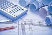 Blueprints, calculator, pencil, compass — Stock Photo
