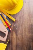 Set of tools handsaw tapeline pencil — Stock Photo