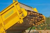 Potato harvester in work — Stock Photo